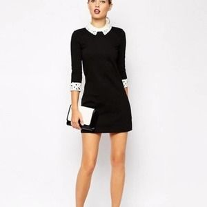 Ted Baker 'Currie' Peter Pan Collar Black Dress, 3